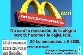 Argentina: accordo Macrì-McDonald's per assumere giovani sotto il salario minimo