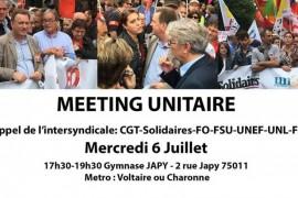 L'intersindacale lancia per oggi un meeting unitario contro la Loi Travail