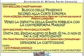 Assemblea pubblica su pensioni, sanità e unità del sindacalismo di base