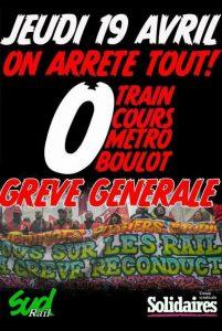 Francia: sciopero generale il 19 aprile. Appello di Solidaires a bloccare tutto