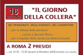 Roma 16 giugno: pensionati, esodati e lavoratori in presidio per pensioni dignitose