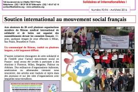 Solidaires ringrazia per il sostegno internazionale ricevuto alla mobilitazione del 28 aprile