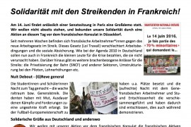 14 giugno contro la Loi Travail: presidio di solidarietà in Germania