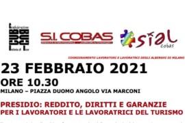 23 febbraio: presidio dei lavoratori/trici degli alberghi di Milano e delegazione all'Assessorato del Lavoro e Turismo