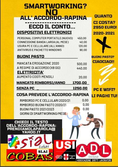 Comune di Milano: Smartworking? NO all'accordo rapina